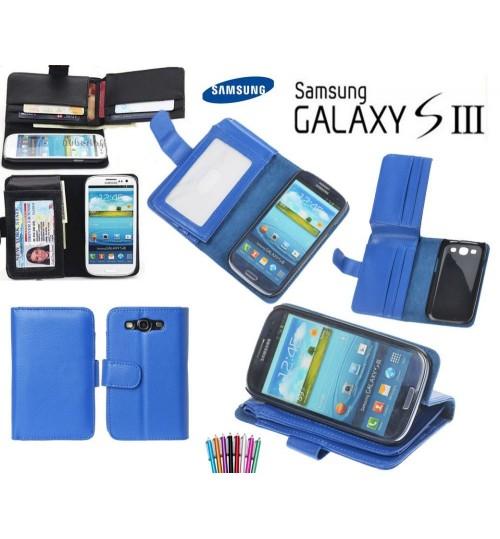 Galaxy S3 leather case full cash pocket ID +SP+Pen