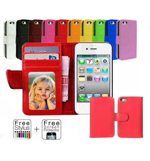 Iphone 4 4s wallet leather ID window case