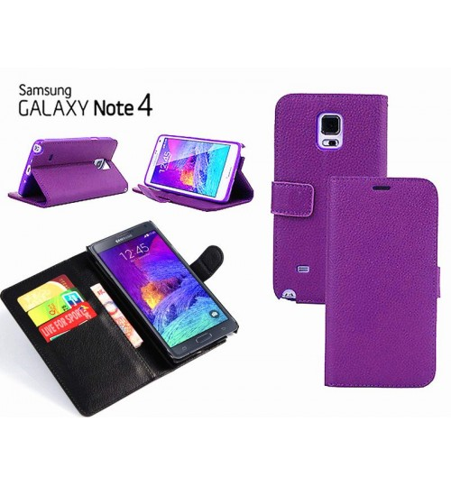 Samsung Galaxy Note 4 Case Leather Wallet w Stand