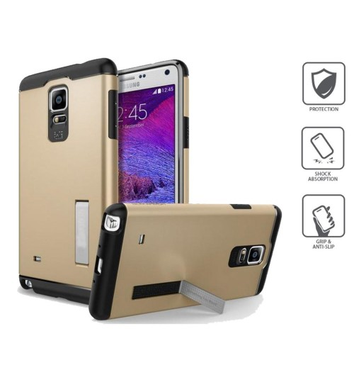 Galaxy Note 4 Shockproof dual layer heavy duty kickstand case