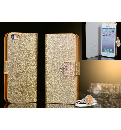 Iphone 4 4s luxury bling glitter leather case gold