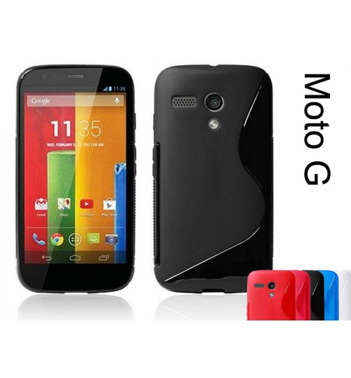 Moto G gel case TPU S line matte case black + SP