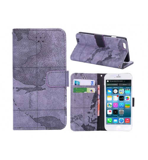 iphone 6 6s Plus wallet leather map case w stand