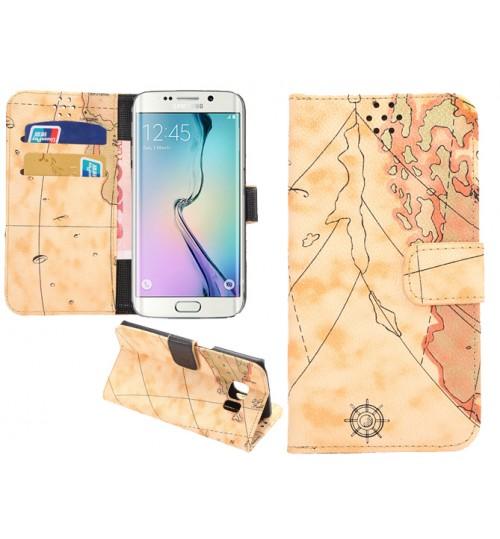 Samsung S6 Edge Case wallet leather map case+Pen