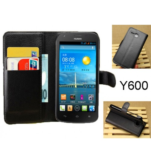 Huawei Ascend Y600 wallet leather case+combo