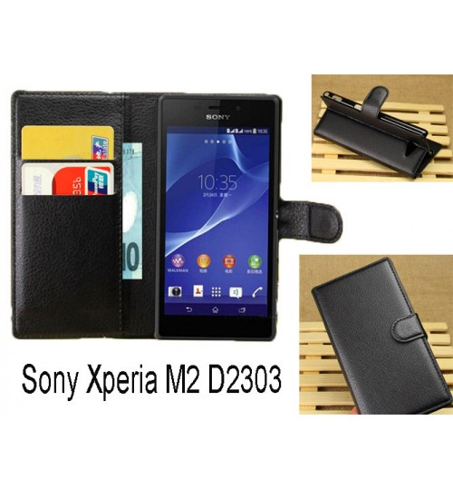 Sony Xperia M2 wallet leather case+combo
