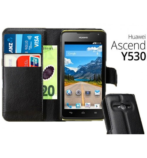 Huawei Y530 wallet leather case+Pen
