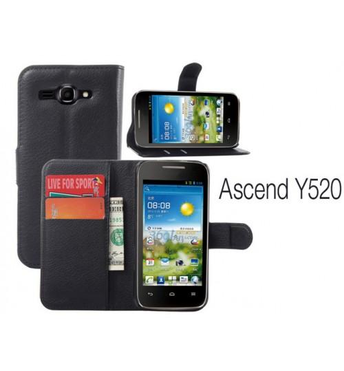 Huawei Y520  wallet leather case+Pen