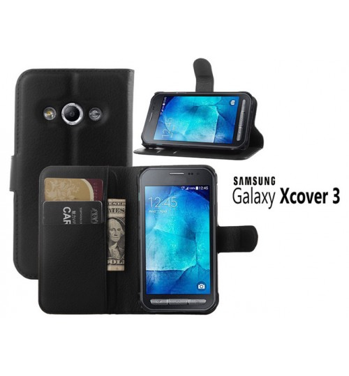 Samsung Galaxy Xcover 3 Case Leather Wallet+Pen