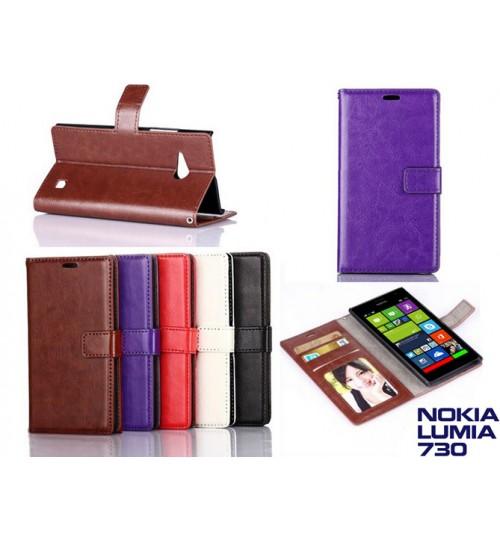 Nokia Lumia 735 vintage fine leather wallet case