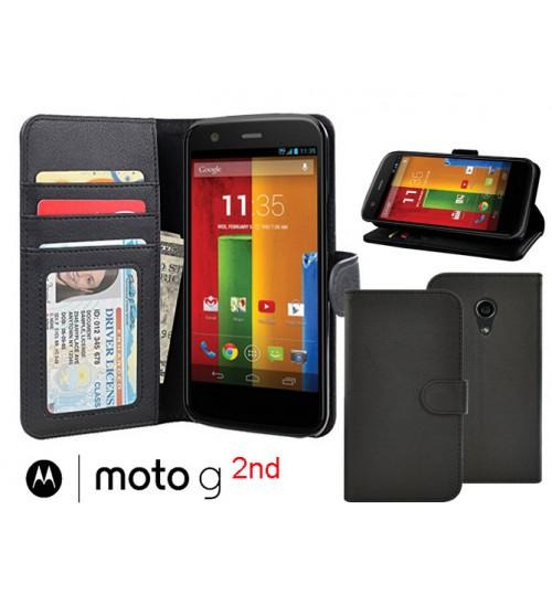 Moto G 2 Case wallet leather  ID window+Combo