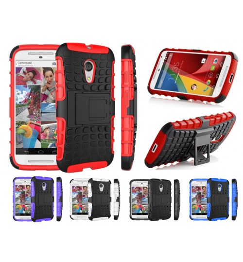 Moto G 2nd  G2 Case Heavy Duty Hybrid Kickstand
