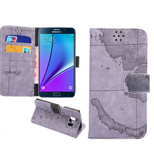 Samsung Galaxy Note 5 Case wallet leather map Case
