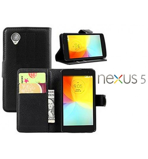LG Google Nexus 5 Case Leather Wallet Cover+Pen