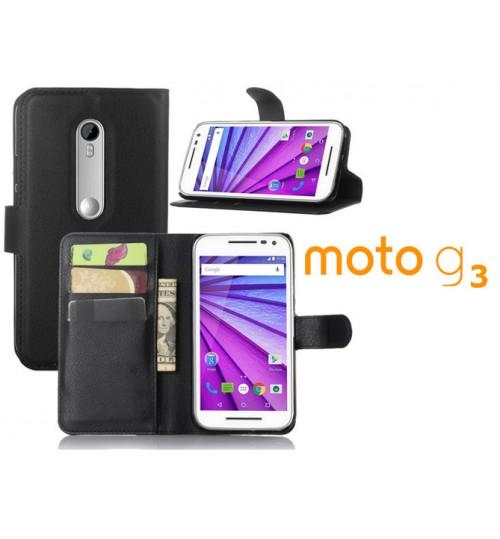 Moto G3 case wallet leather case+Pen
