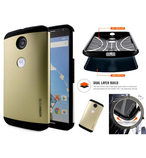 Google Nexus 6 impact proof heavy duty slim case