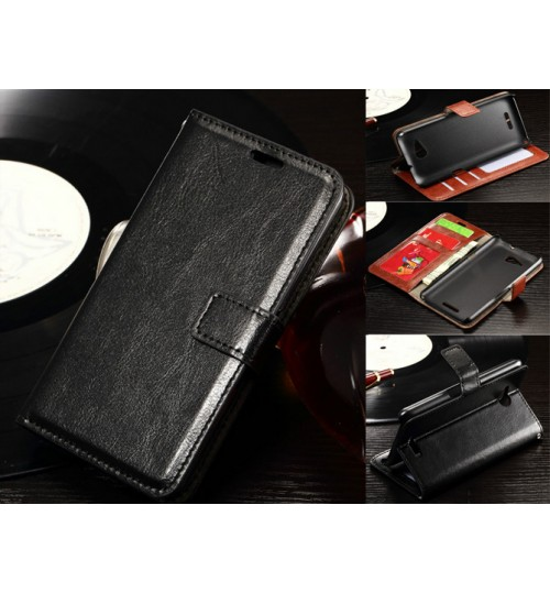 Sony Xperia E4g vintage fine leather wallet case