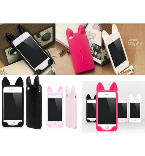 iPhone 4 4s Case Soft TPU Gel Cats Style Cover
