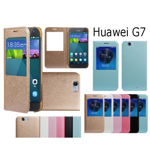 Huawei G7 case luxury view window case+Pen