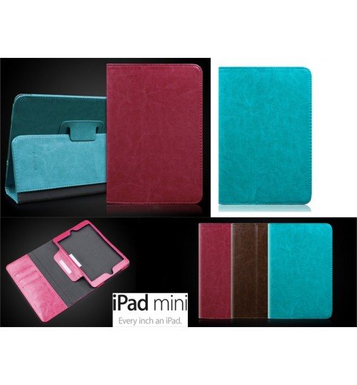 Ipad mini luxury fine leather wallet case cover