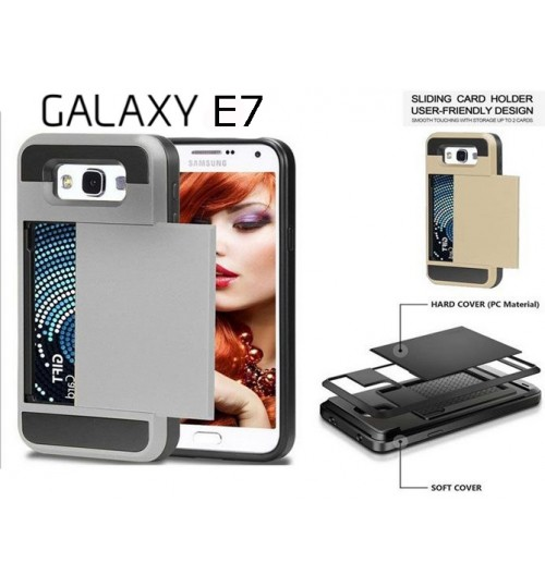 Galaxy E7 impact proof hybrid case card holder