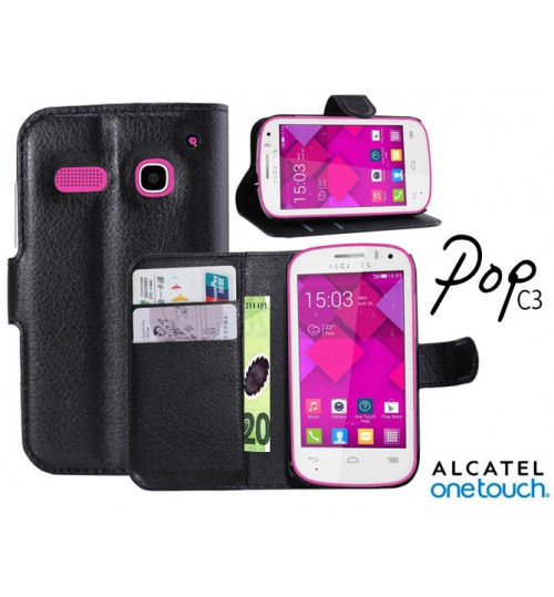 Alcatel pop C3 Wallet leather case cover +Pen