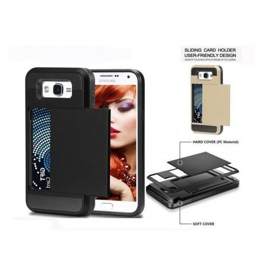 Galaxy J7 impact proof hybrid case card holder