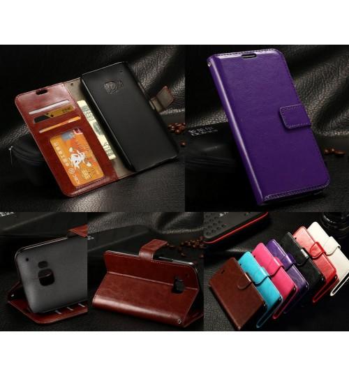 HTC ONE M9  vintage fine leather wallet case+Pen