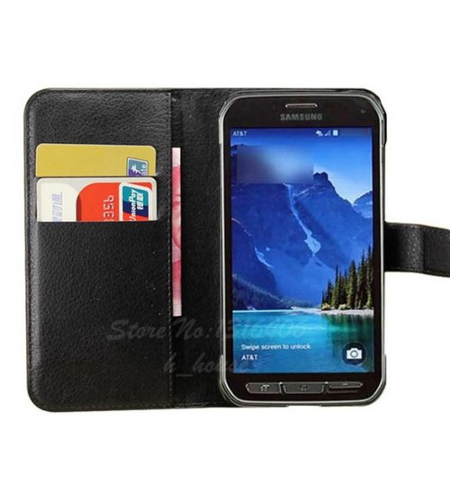Samsung Galaxy S5 ACTIVE Case Leather Wallet COVER