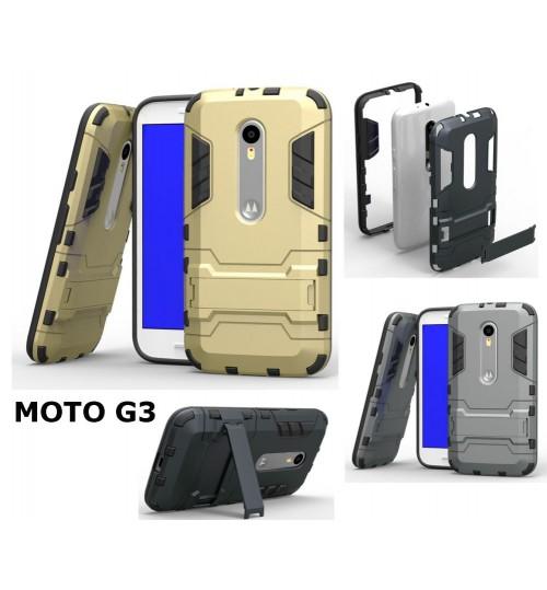 MOTO G 3  Heavy Duty Hybrid Kickstand Case Cover