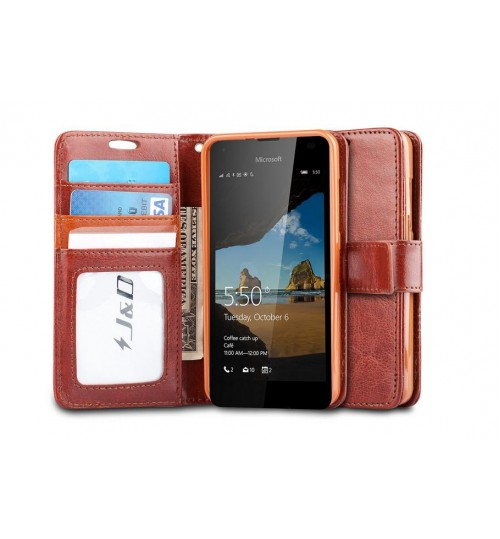 Lumia 550 vintage fine leather wallet case