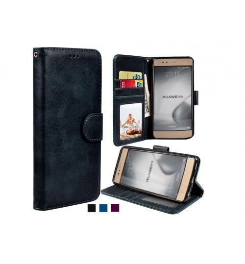 Huawei P9 vintage fine leather wallet case