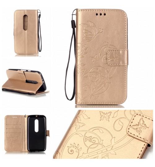 MOTO G3 case Premium leather Embossing  wallet flip case MOTO G 3rd Gen