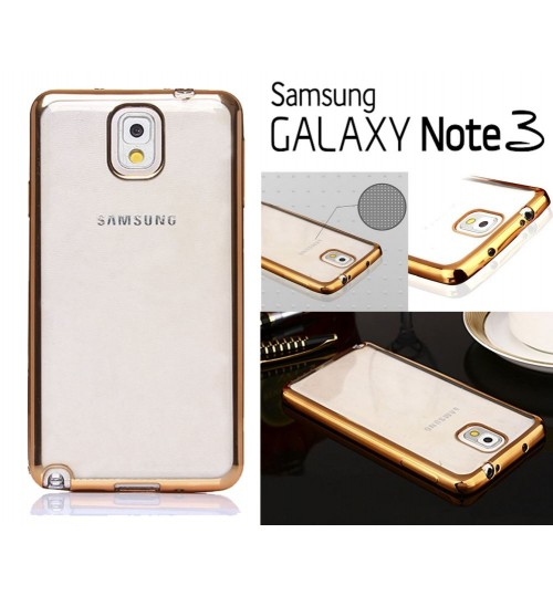 Samung Galaxy Note 3 case plating bumper with clear gel back cover case