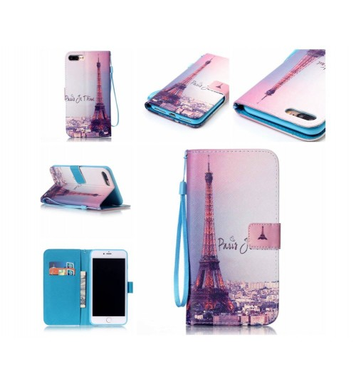 iPhone 7 Plus case wallet leather card holder cover case printed leather