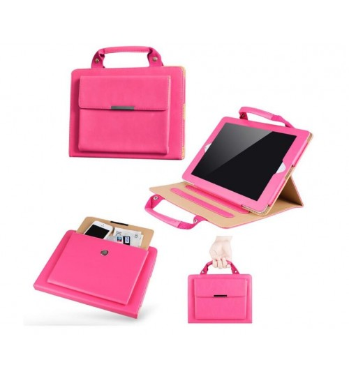 Ipad mini 1 2 3 Luxury Handle Bag folio PU Leather Case Cover With Stand
