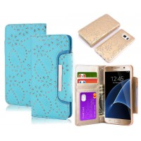 Galaxy s7 bling leather wallet case detachable