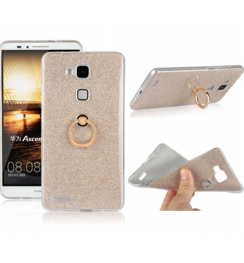 HUAWEI MATE 7 Soft tpu Bling Kickstand Case with Ring Rotary Metal Mount