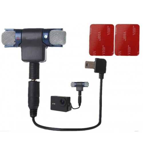 External Stereo 3.5mm Microphone+Mic Adapter compatible with GOPRO
