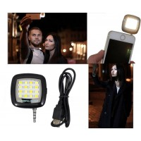 Mini 16LED Selfie Camera Fill in Flashlight Rechargeable Battery for Smartphones