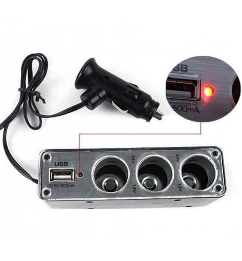 Multiple Usb Port Car Charger: Car Cigarette Lighter Multi Socket Splitter 3 Way USB