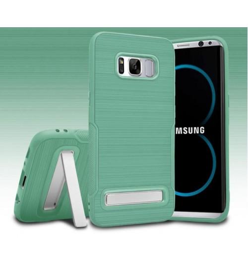 Galaxy S8 Slim Armor Carbon Fiber Brushed TPU Soft Kickstand cover case