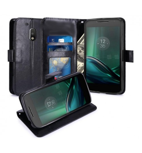 MOTO G4 PLAY vintage fine leather wallet case