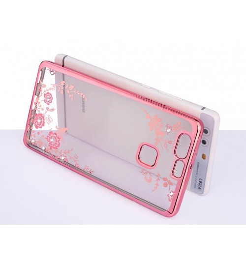 Huawei P9 soft gel tpu case luxury bling shiny floral case
