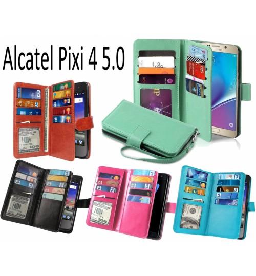 Alcatel Pixi 4 5.0 Double Wallet leather case 9 Card Slots