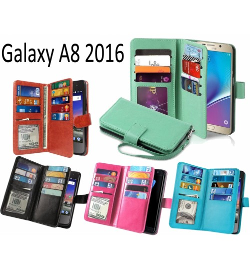 Galaxy A8 2016 Double Wallet leather case 9 Card Slots