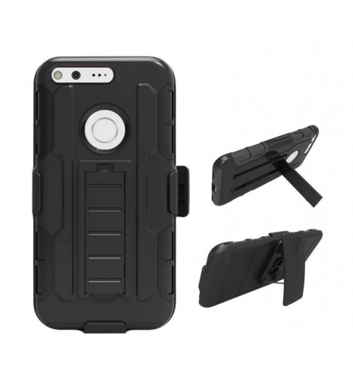 Google Pixel Rugged Hybrid armor Case+Belt Clip Holster
