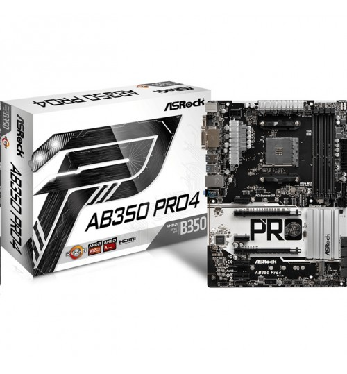 ASRock AB350 Pro4 ATX Form Factor For AMD Socket AM4, AMD Promontory B350 Chipset, 4x DDR4-3200 M.2 SATA3, USB3.0 TypeC - VGA DVI HDMI AMD Quad CrossFireX