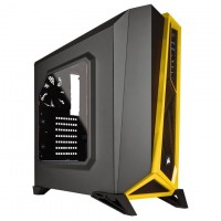 Corsair Carbide SPEC-ALPHA Mid-Tower Gaming Case, No PSU, Black/Yellow, Bold Exterior Design with LED fans, Front 240mm radiator compatibility