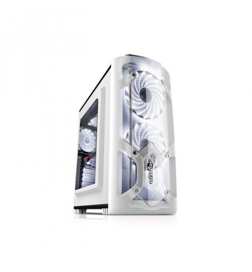 Segotep Polar Light Mini ATX Tower Case with Front 12CM Blue LED Fan (No PSU) - White - Front USB 3.0/2.0  & HD Audio